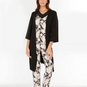 NWT! Floral Nikrooz Solid Black Primrose Wrap Robe